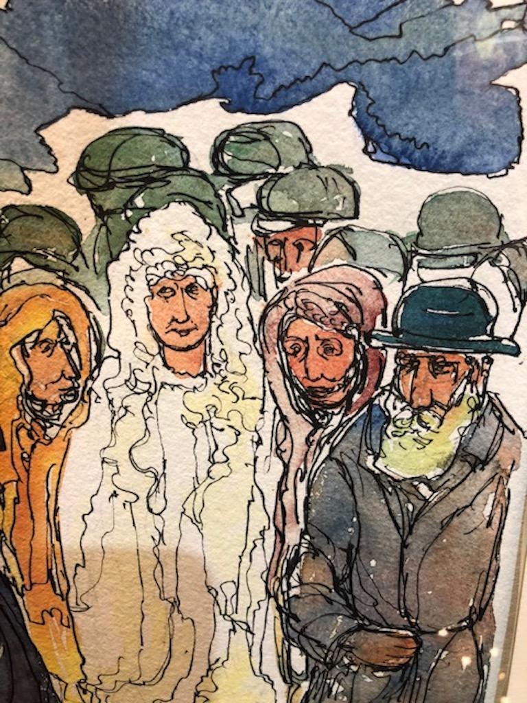 Polish Chaim Goldberg Watercolor Painting For Sale