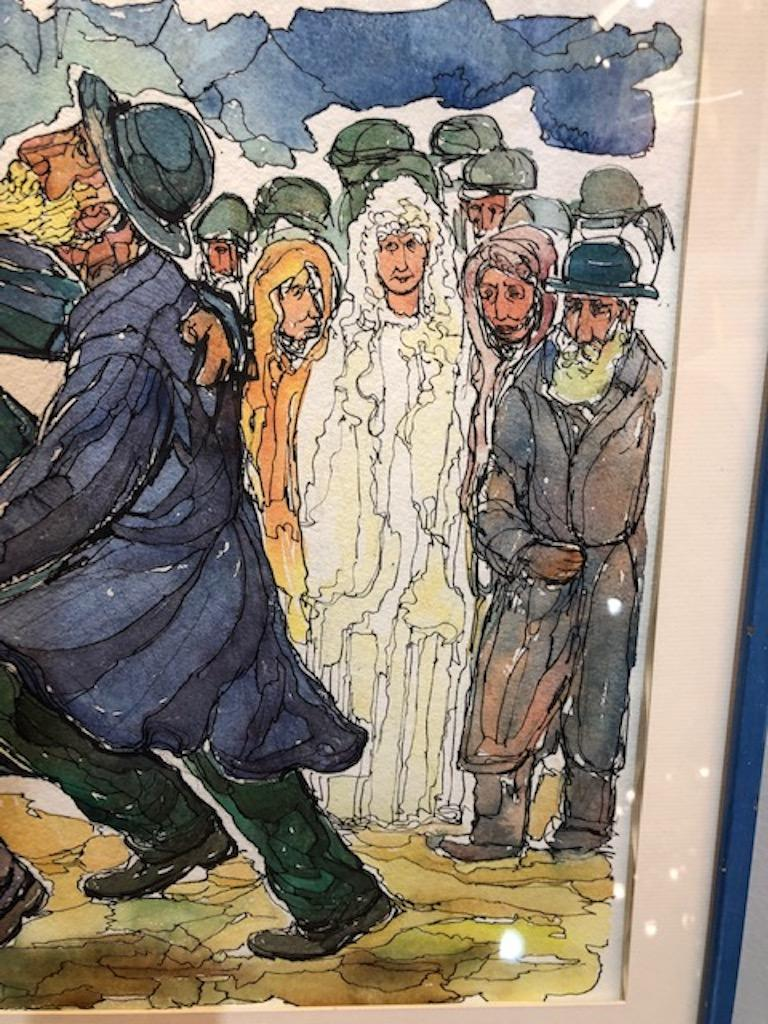 Chaim Goldberg Watercolor Painting In Excellent Condition For Sale In Houston, TX