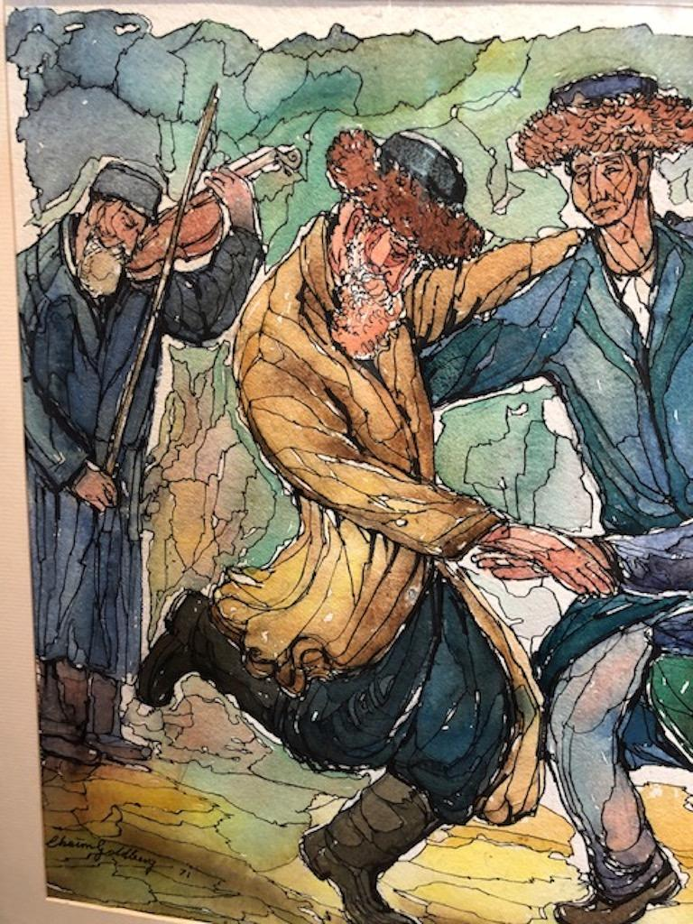 Paper Chaim Goldberg Watercolor Painting For Sale