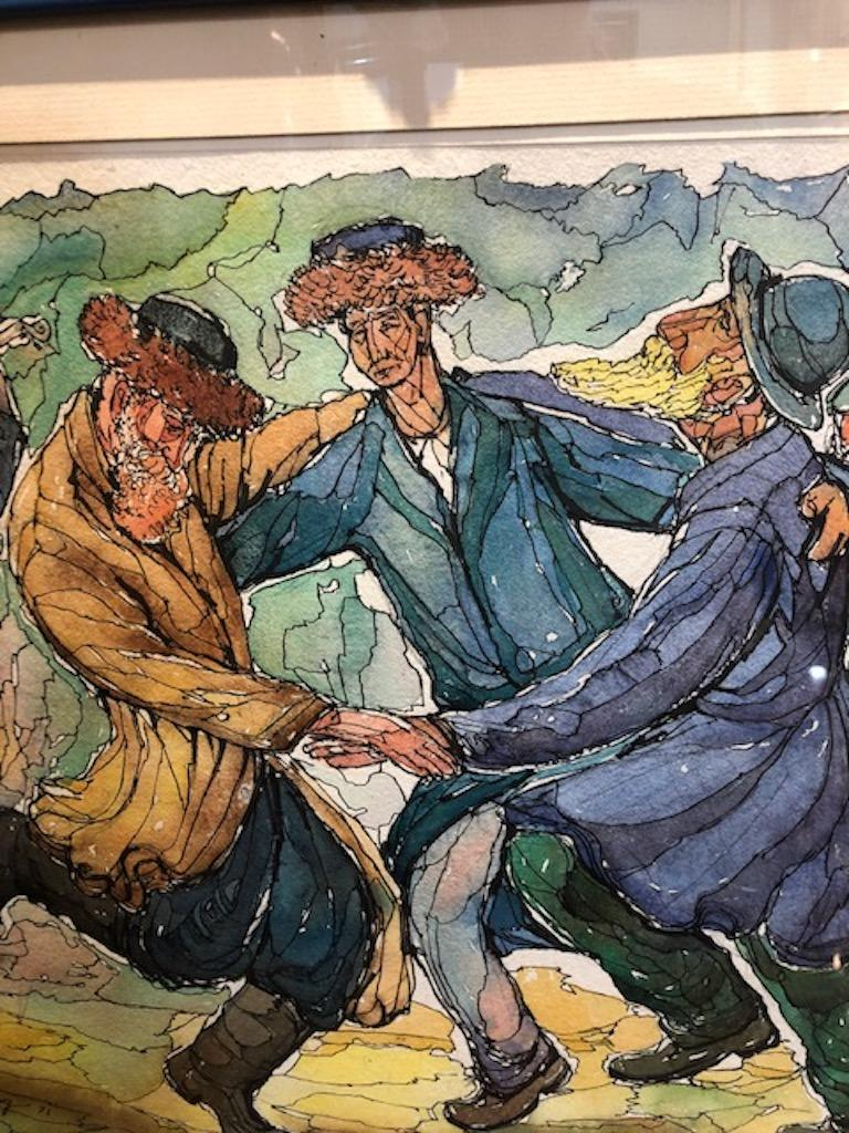 Chaim Goldberg Watercolor Painting For Sale 1