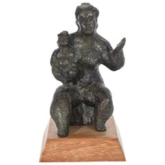 Chaim Gross Bronze Mother and Child Sculpture