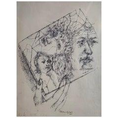 Chaim Gross, Engraving, Composition Avec Visages, 1942