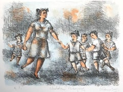 CHILDREN PLAYING Signed Lithograph, Woman and Children Playing, Playground