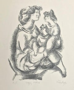 HAPPY MOTHER Signed Lithograph, B+W Portrait Drawing, Mother and Daughters