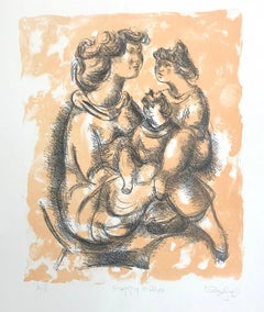 HAPPY MOTHER Signed Lithograph, Mother & Child Portrait, Sculptural Drawing
