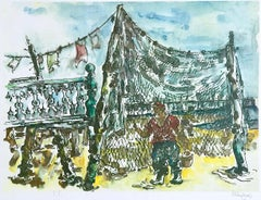 PROVINCETOWN FISHING NETS  Signed Lithograph, Watercolor Landscape, Fisherman