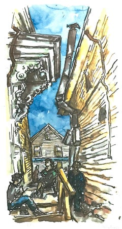PROVINCETOWN SIDE STREET Signed Lithograph, New England Cape Cod White Clapboard