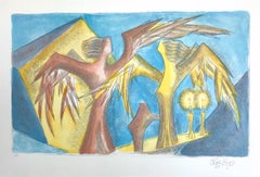 SABBATH ANGELS Signed Lithograph, Sculptural Drawing, Angel Portrait