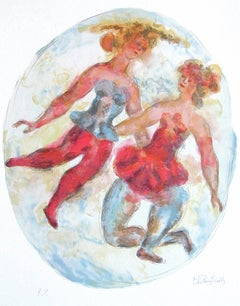TWO BALLERINAS Signed Lithograph Oval Dance Portrait Ballet Tutu Red Blue Yellow