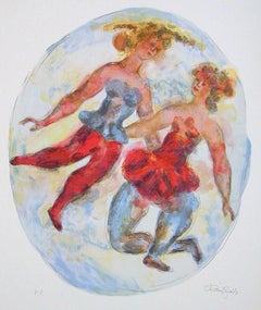 TWO BALLERINAS Signed Lithograph, Oval Figurative Portrait, Ballet Dancers