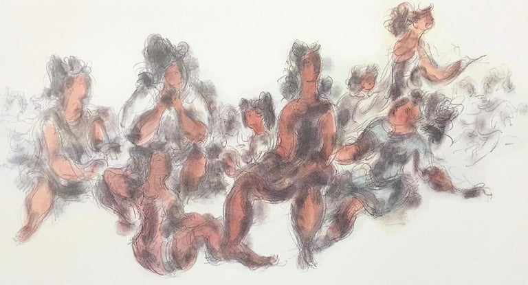 WOMEN TOGETHER Signed Lithograph Seated Female Figures, Cream, Gray, Terra Cotta - Print by Chaim Gross