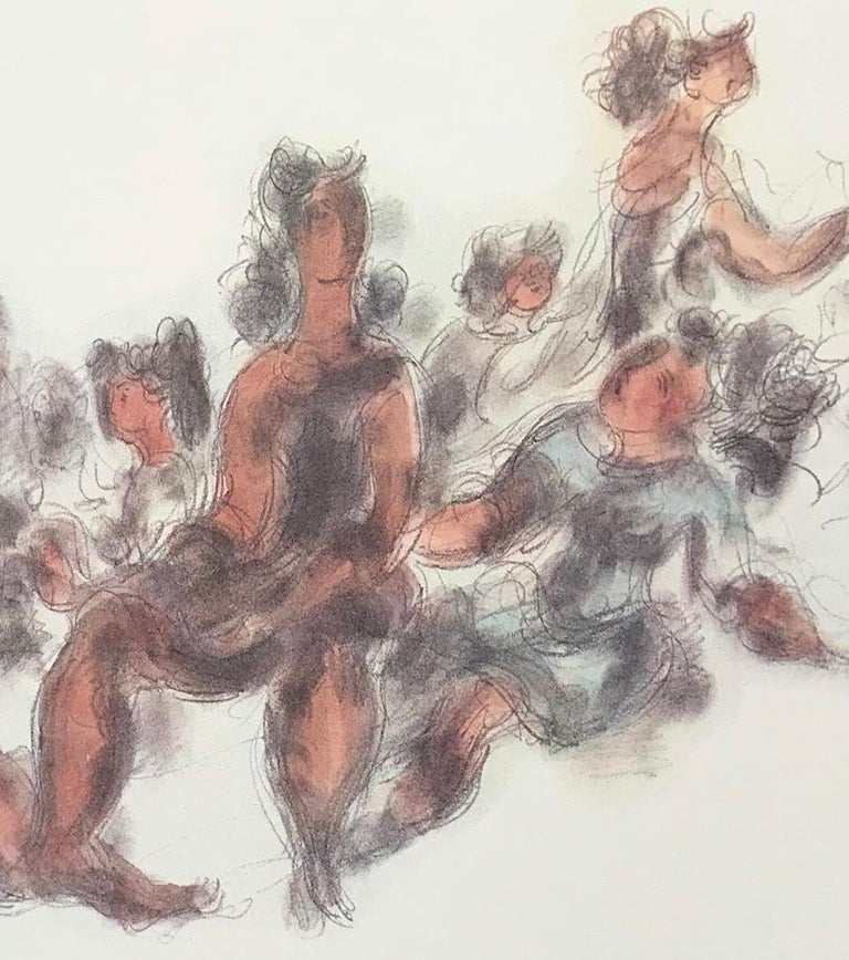 WOMEN TOGETHER Signed Lithograph Seated Female Figures, Cream, Gray, Terra Cotta - Contemporary Print by Chaim Gross