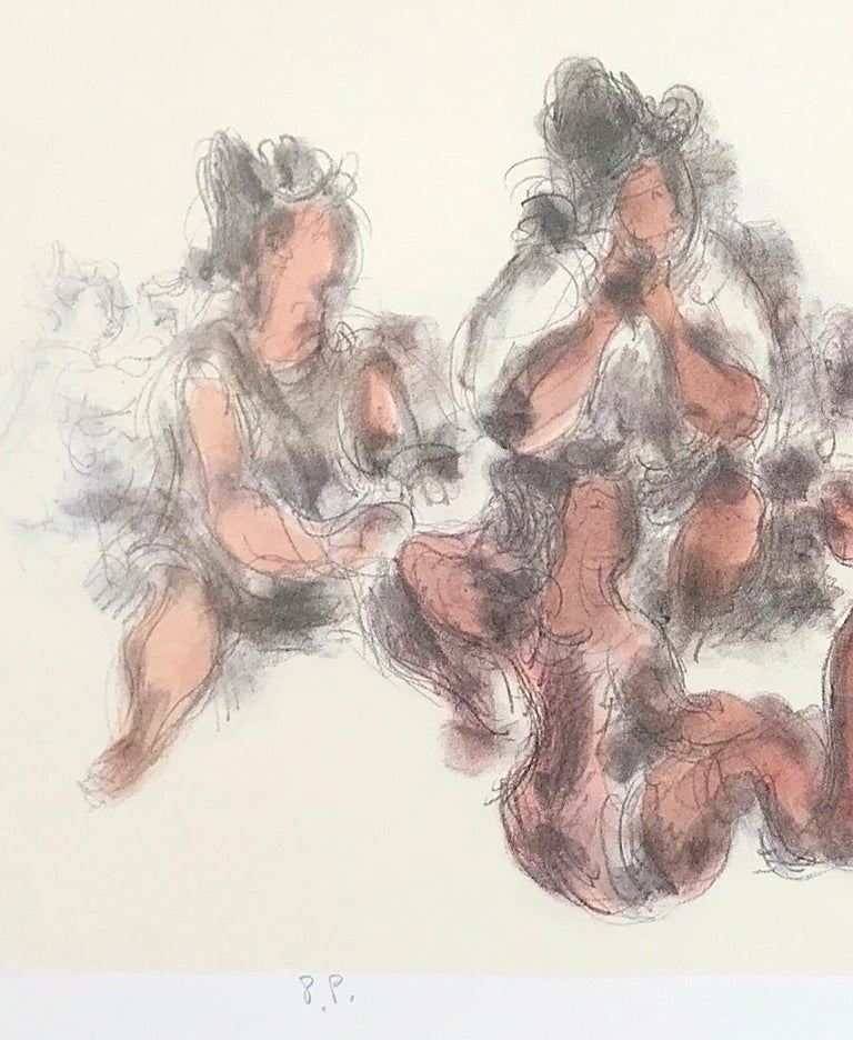 WOMEN TOGETHER Signed Lithograph Seated Female Figures, Cream, Gray, Terra Cotta - Beige Figurative Print by Chaim Gross