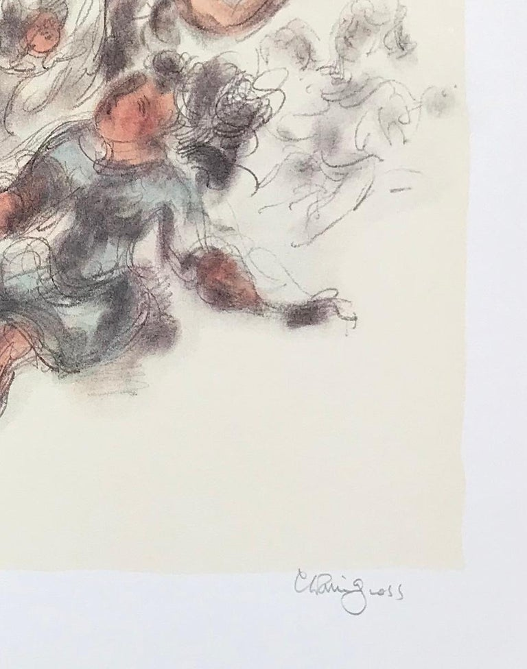 WOMEN TOGETHER is a color lithograph by the American artist/sculptor Chaim Gross presenting an endearing figure study of seated female figures printed on archival white paper in watercolor shades of cream, light terra cotta, warm gray, light blue,