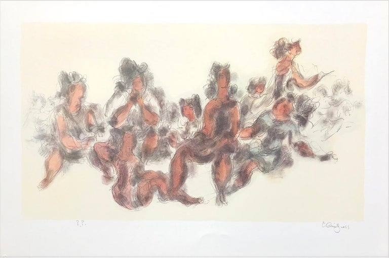 Chaim Gross Figurative Print - WOMEN TOGETHER Signed Lithograph Seated Female Figures, Cream, Gray, Terra Cotta