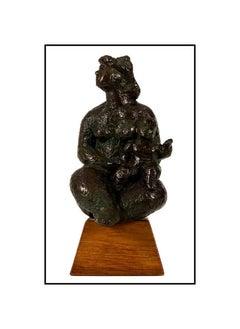 Chaim Gross Original Bronze Sculpture Seated Mother Child Signed Modern Artwork