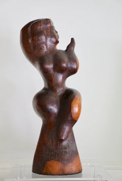 Chaim Gross, Perl Combing Her Hair, Carved Wooden Sculpture