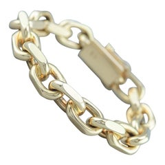 Chain Bracelet 14 Karat Gold 1980s Solid 115 Gram