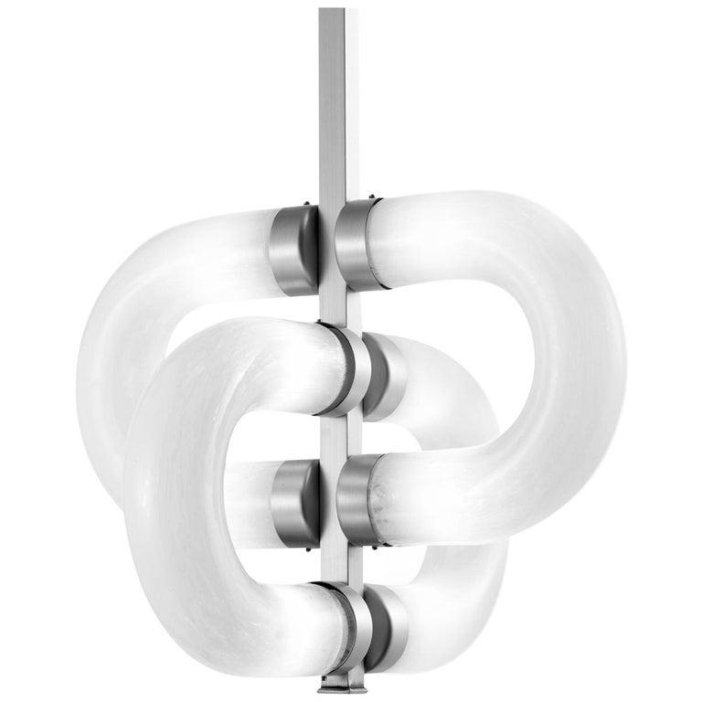 Chain Brass Alternated Links Pendant Lamp For Sale