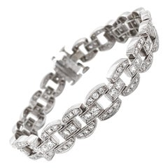 Round Cut White Diamonds 4.36 Carat Platinum Chain Link Bracelet