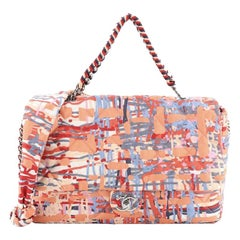 Chain Flap Bag Quilted Printed Foulard Small