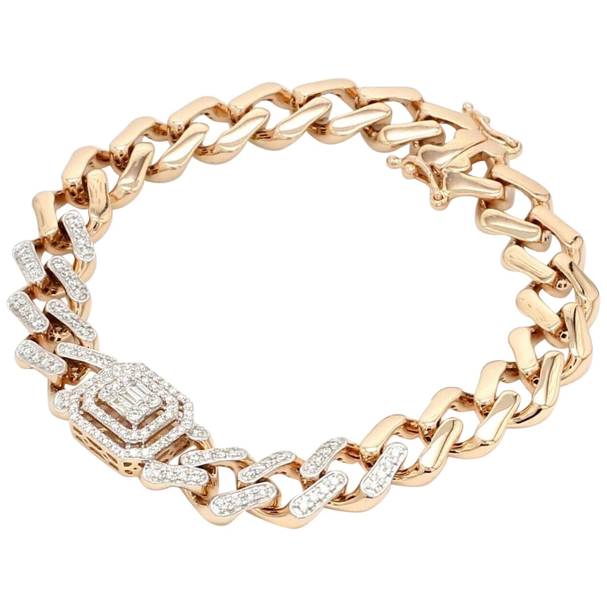 Chain Link Diamond 18 Karat Rose Gold Bracelet