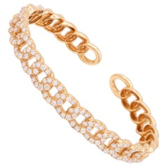 Chain Link Diamond Bangle Bracelet in 18 Karat Rose Gold