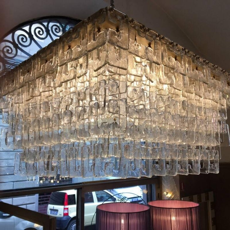 Modern Chain Link Murano Clear Glass Chandelier, Brass Structure, 1970s