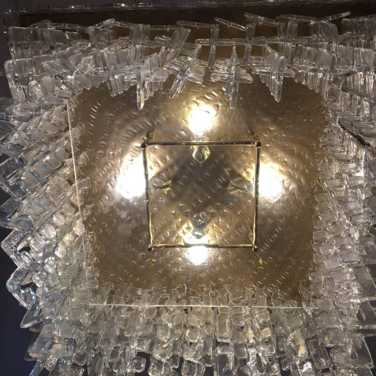 Murano Glass Chain Link Murano Clear Glass Chandelier, Brass Structure, 1970s