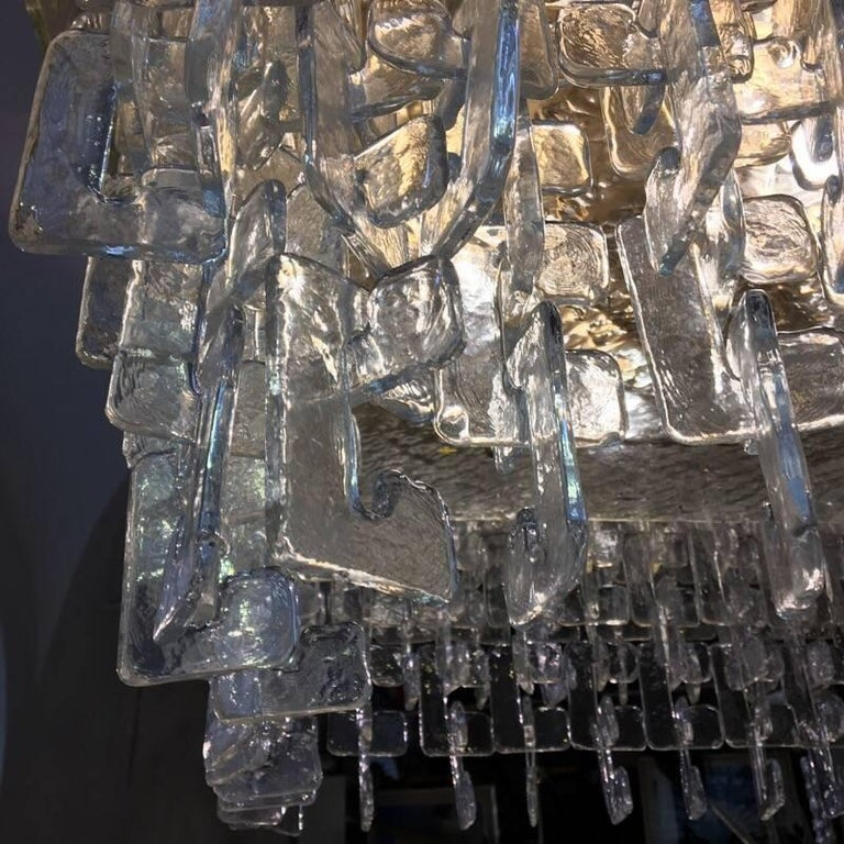 Chain Link Murano Clear Glass Chandelier, Brass Structure, 1970s 1