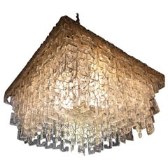 Chain Link Murano Clear Glass Chandelier, Brass Structure, 1970s