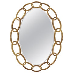 Chain Mirror in Antique Gold Finish