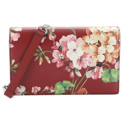 Chain Wallet Blooms Print Leather