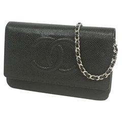 chain Wallet  chain shoulder\  Womens  long wallet  black x silver hardware Leat