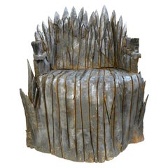 Chainsaw-Hewn Brutalist Throne of Solid Piñon Pine