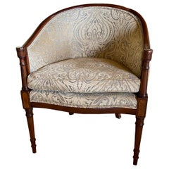 Chair, 18th Century Style Mahogany Show Wood Arm Chair, Hepplewhite Style Frame