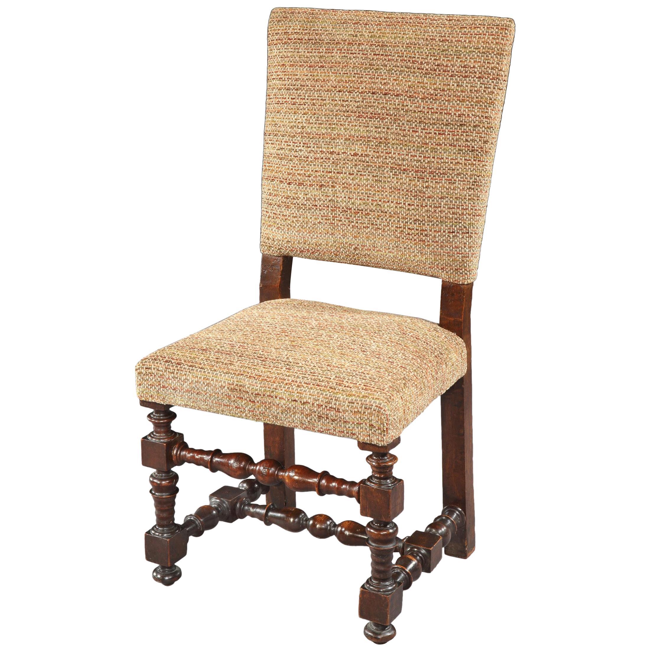 Chair, 19th century, Italian, Baroque, walnut, upholstered, Missoni