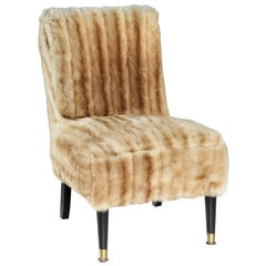 Chair, 20th Century, English, Modern, Upholstered, Mink