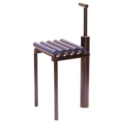 Chair 9, Sculptural Chair in Steel and Oak, Metallic Blue and Black Painted