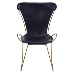 Chair, Aged Brass Steel and Navy Leather, Hug Collection