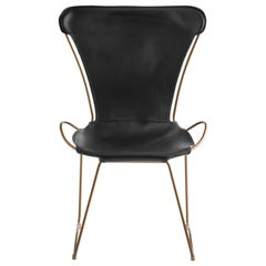 HUG Chair Aged Brass Steel and Vegetable Tanned Black Saddle Leather