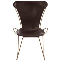 HUG Chair Aged Brass Steel and Vegetable Tanned Dark Brown Saddle Leather