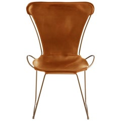 HUG Chair Aged Brass Steel and Vegetable Tanned Natural Tobacco Saddle Leather