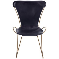 HUG Chair Aged Brass Steel and Vegetable Tanned Navy Saddle Leather