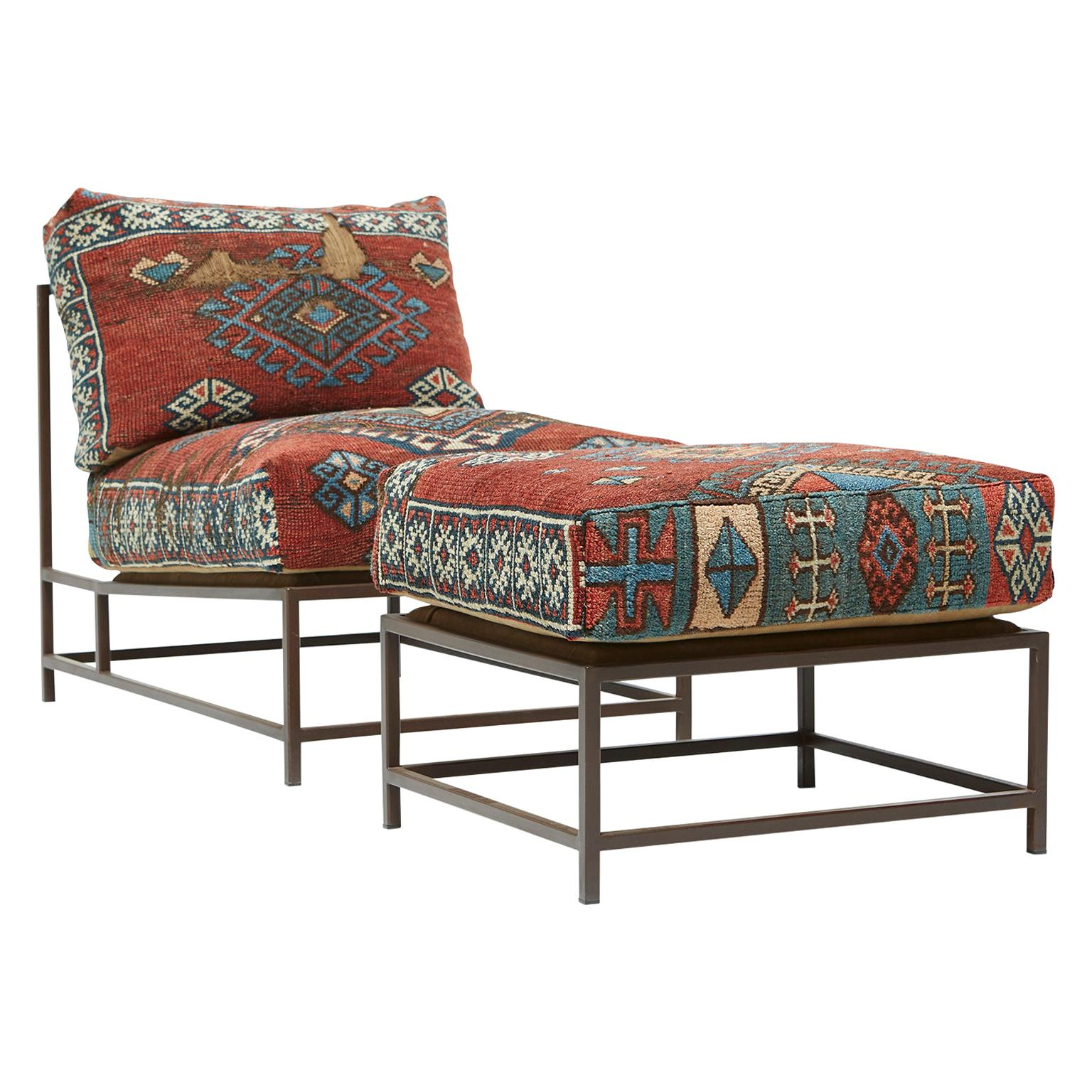 Chair and Ottoman Set with Antique Rug Upholstery