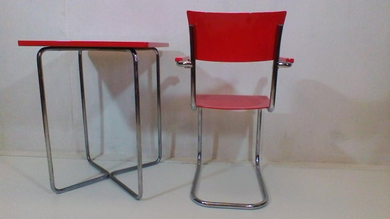 Mid-Century Modern Chair and Table by Robert Slezák, 1930-1940 For Sale