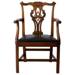 Chair Armchair English Chippendale 18th Century Brown Black, England