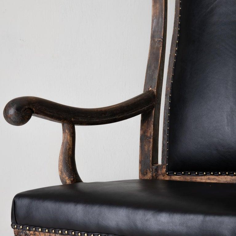 Chair Armchair Swedish Baroque Black Original Paint, Sweden For Sale 5