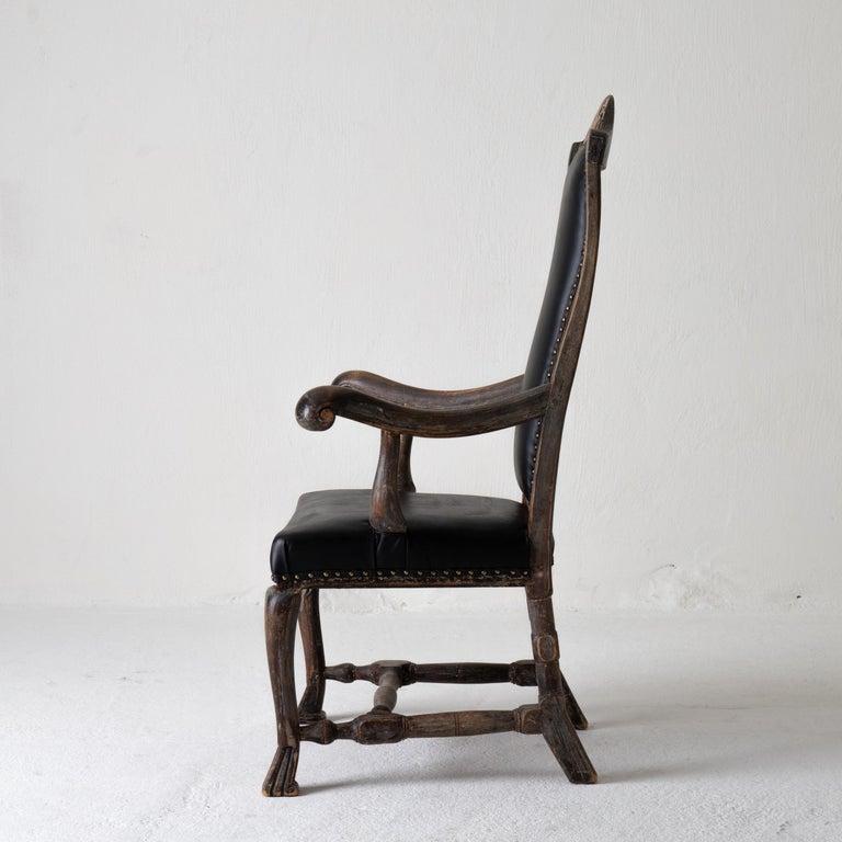 Chair Armchair Swedish Baroque Black Original Paint, Sweden For Sale 6