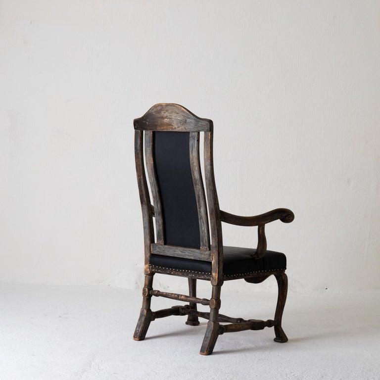 Chair Armchair Swedish Baroque Black Original Paint, Sweden For Sale 8